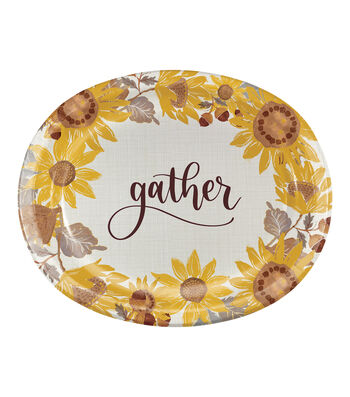Simply Autumn 8 pk 12'' Oval Platters-Sunflowers
