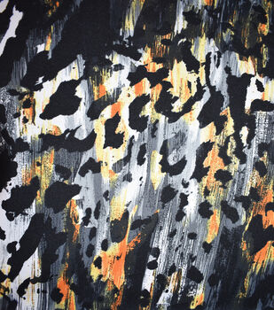 Fast Fashion Knit Fabric-Black & Orange Abstract Animal