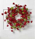Fresh Picked Spring 22\u0027\u0027 Quince Blossom & Twig Wreath-Red