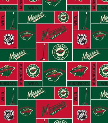 Minnesota Wild Fleece Fabric 60''-Block