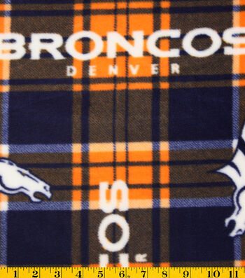 Denver Broncos Fleece Fabric -Plaid