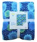 No Sew Fleece Throw Kit 72\u0022-Blue Green Groovy Floral