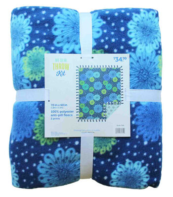 "No Sew Fleece Throw Kit 72""-Blue Green Groovy Floral"