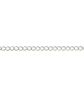 Darice 36'' Oval Twisted Cable Steel Silver Plated Chain Necklace