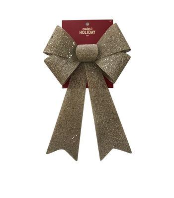 Maker's Holiday Christmas 9'' Burlap PVC Glitter Bow