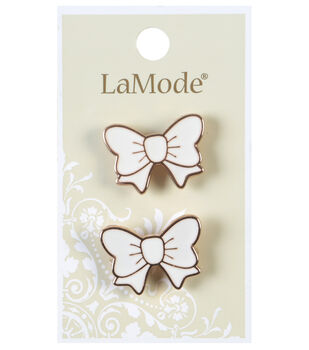 LaMode White And Gold Bow Shank Buttons