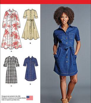 Simplicity Patterns Us8014U5-Simplicity Misses' Shirt Dress-16-18-20-22-24