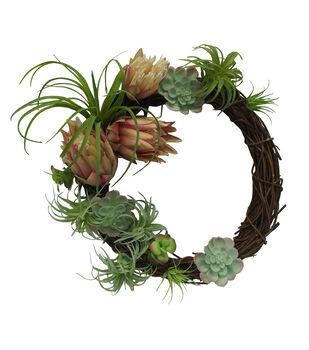 Fresh Picked Spring Desert Aura 24'' Mixed Succulent Wreath