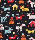 Blizzard Fleece Fabric-Happy Dogs On Black