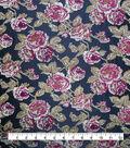 Brocade Fabric -Pink Roses on Black