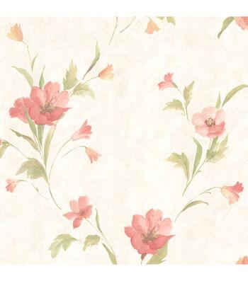 Kala Salmon Satin Floral Wallpaper