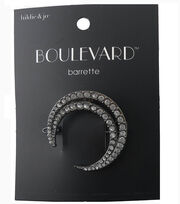 hildie & jo Boulevard Open Crescent Silver Barrette-Clear Crystal, , hi-res