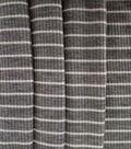 Apparel Knit Fabric-Tiny Ribbed Knit Grey/White Stripe
