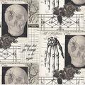 Halloween Cotton Fabric-Creepy Sketches on Cream