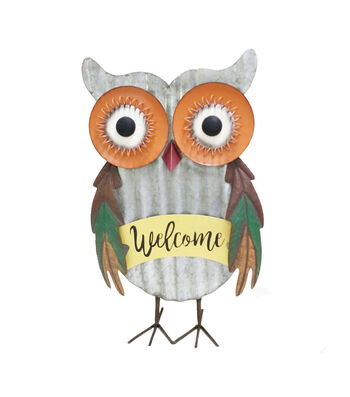 Simply Autumn Metal Owl Tabletop Decor-Welcome