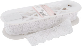 "Scalloped Rose Venice Lace 1-3/4"" Wide 10 Yards-White"