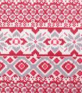 Anti-Pill Plush Fabric-Vail Red & Gray Fair Isle