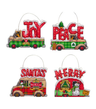 Dimensions Christmas Plastic Canvas Holiday Truck Ornament Kit