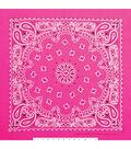 Carolina 21\u0027\u0027x21\u0027\u0027 Cotton Bandana-Neon Pink Paisley