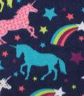 Blizzard Fleece Fabric -Unicorns And Stars