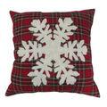 Handmade Holiday Christmas 18\u0027\u0027x18\u0027\u0027 Pillow-Snowflake on Tartan