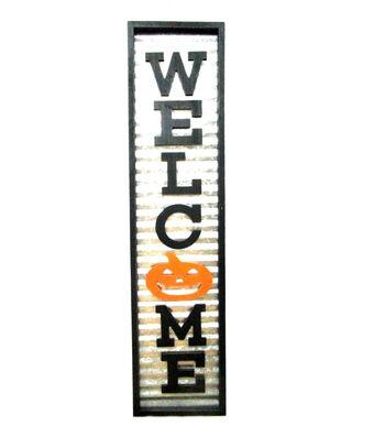 Maker's Halloween Galvanized Porch Sitter-Welcome
