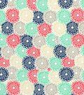 Quilter\u0027s Showcase Cotton Fabric 44\u0027\u0027-Coral & Mint Packed Floral Burst