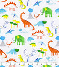 Snuggle Flannel Fabric-Dinosaurs on White