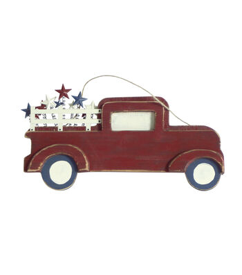 Americana Patriotic Truck Wall Decor-Red