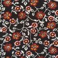 Apparel Knit Fabric-Burgundy Floral on Black