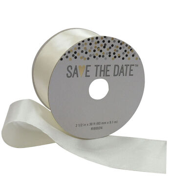 Save the Date 2.5'' X 30' Ribbon-Ivory Satin
