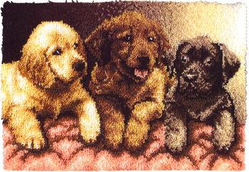 "Wonderart Latch Hook Kit 24""X34""-Lab Puppies"