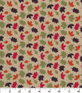 Quilter\u0027s Showcase Cotton Fabric -Multicolor Tossed Leaves on Tan