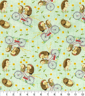 Novelty Cotton Fabric-Hedgehogs On Bikes