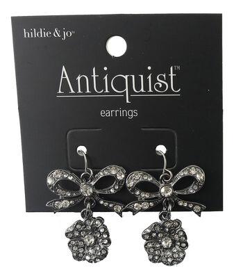 hildie & jo Antiquist Bow & Flower Silver Earrings-Crystals