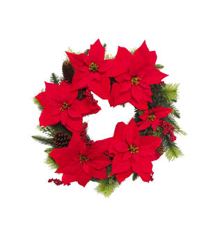 Handmade Holiday Red Water Resistant Poinsettia & Berry Outdoor Wreath