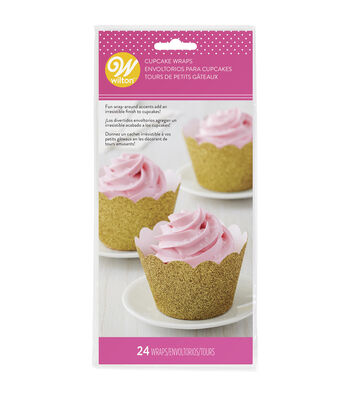 Wilton Valentine's Day 24 pk Glitter Cupcake Wraps-Gold