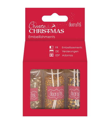 Papermania Create Christmas Embellishments 3 Bottles-Gold Beads
