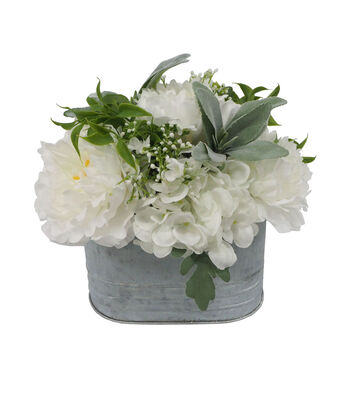 Fresh Picked Spring 12.5'' Hydrangea Arrangement in Galvanized Container