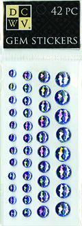 DCWV Iridescent Gem Stickers-Blue Metallic assortment
