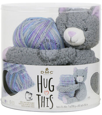 DMC Hug This! Kitten Simple Cables Baby Blanket Yarn Kit