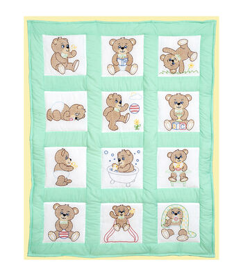 "Stamped White Quilt Blocks 9""X9"" 12/Pkg-Teddy Bears"