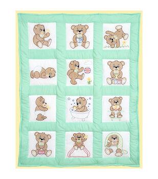 "Stamped White Quilt Blocks 9""X9"" 12/Pkg-Teddy Bears"