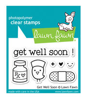 "Lawn Fawn Clear Stamps 3""X2""-Get Well Soon, , hi-res"