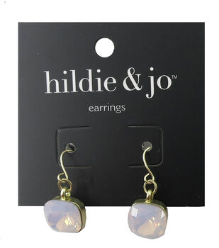 hildie & jo 0.5''x0.5'' Square Gold Earrings-Ivory Stone