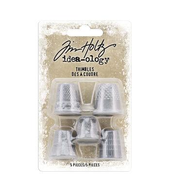 Idea-Ology Metal Thimbles 5/Pkg-Antique Nickel