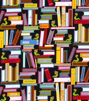 "Novelty Cotton Fabric 44""-Bookworm"