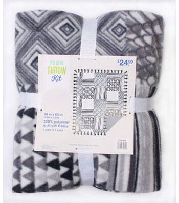 No Sew Fleece Throw 48''-Gray Path Geometric