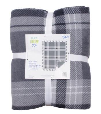 "No Sew Fleece Throw 72""-Gray Scale Plaid"