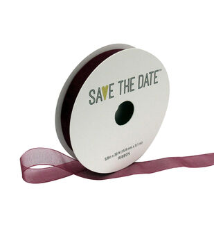 Save the Date Sheer Ribbon 5/8''x30'-Cranberry